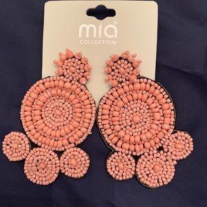 Pink Peach Beaded Earrings